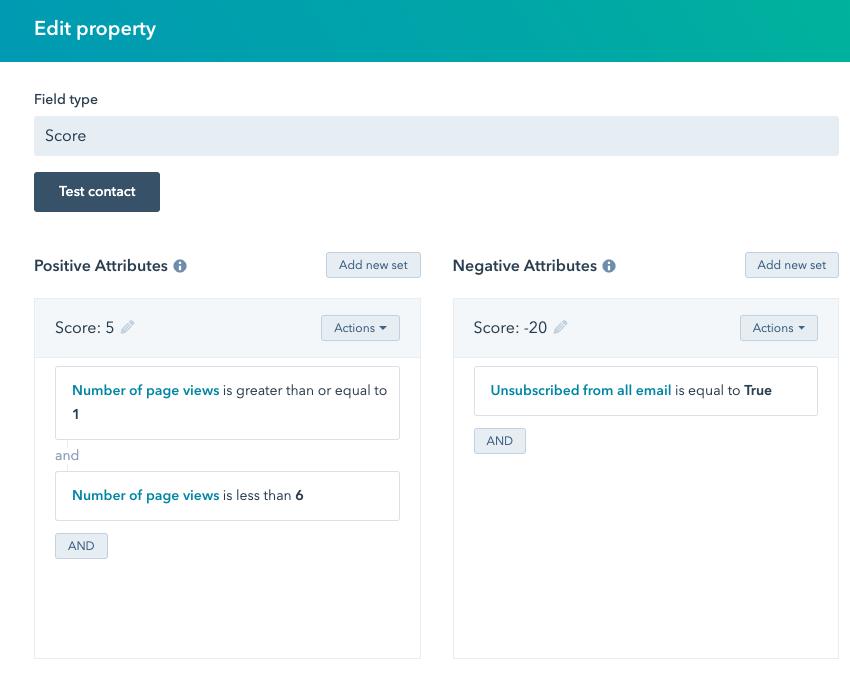 Lead scoring voorbeeld in HubSpot marketing automation software