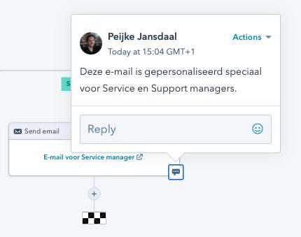 Voorbeeld van een notitie in workflow in HubSpot